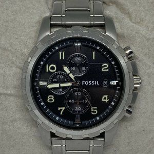 Fossil Mens Stainless Steel Black Dial Watch Aa405